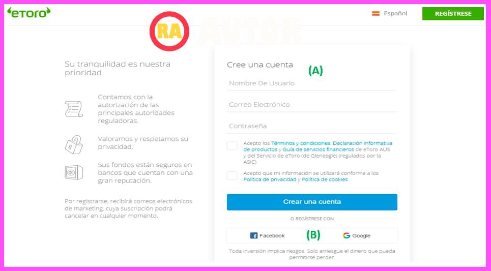formulario de crear cuenta en eToro