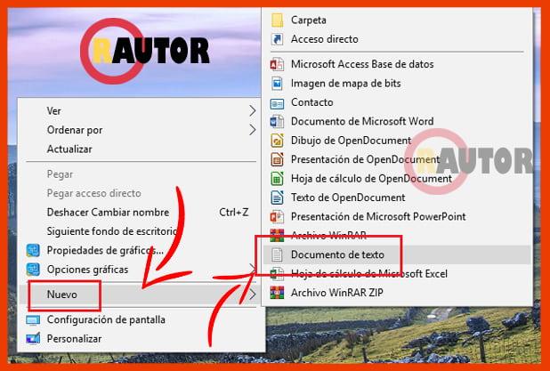 creando documento de texto en windows