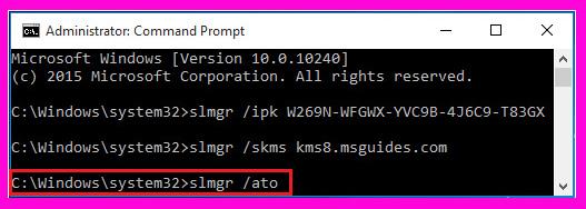 activar windows 10 con comando CMS