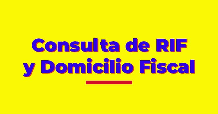 consulta de rif y domicilio fiscal venezuela